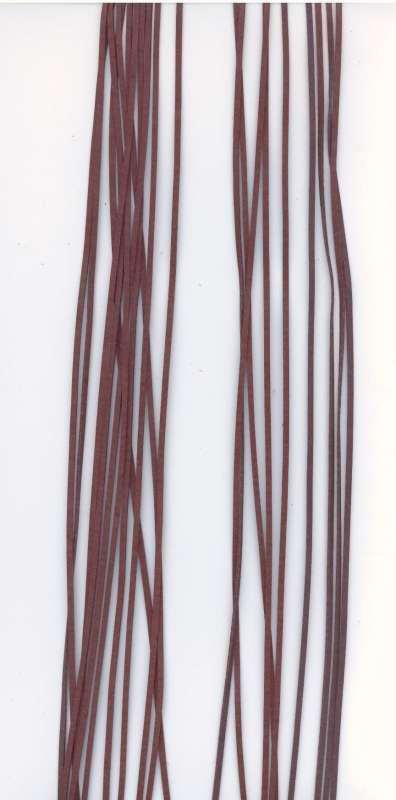 Kožený řemínek plochý barva hnědá šíře 2mm délka 1m.