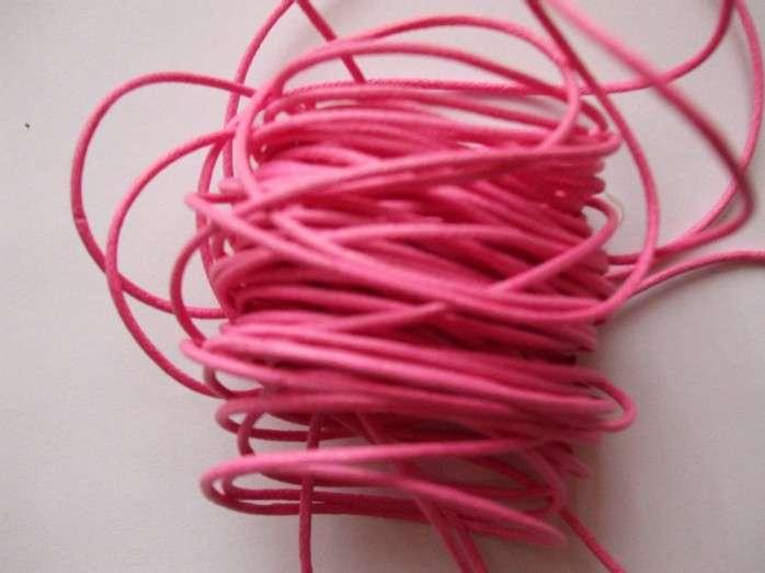 Voskovaná šnůra síla 1mm barva světle růžová délka 1m.