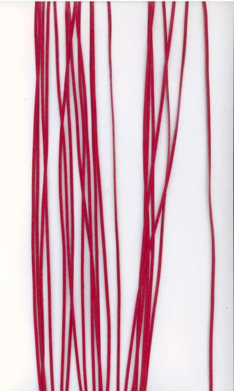 Kožený řemínek plochý barva červená šíře 2mm délka 1m.