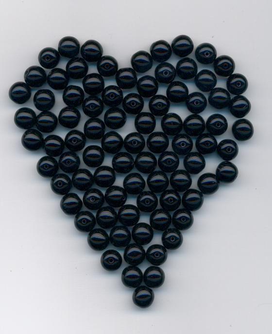 Korálky 11119001 8mm 2398 černá 28ks - Prodej české skleněné mačkané korálky sklářská surovina firma Preciosa vhodné pro korálkování Firma Petr Machačka - výroba skleněné korálky