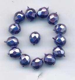Korálky broušené 7 mm vosk fialová 14ks Firma Petr Machačka - výroba skleněné korálky