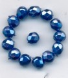 Korálky  broušené 15119001 velikost  7mm povrch vosk modrý 14ks