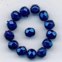 Korálky broušené 15119001 velikost  7mm povrch vosk tmavě modrý 14ks