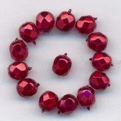 Korálky  broušené 15119001 velikost  7mm povrch vosk barva rubín 14ks