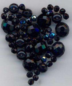 korálky broušené kuličky a tvary/AB tón černá 100gr.