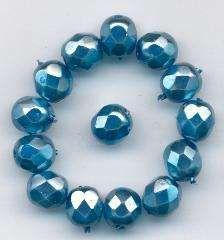 Korálky  broušené velikost 7mm povrch vosk světle. modrý 14ks