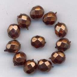 Korálky  broušené velikost 8mmpovrch vosk  barva bronz 12ks