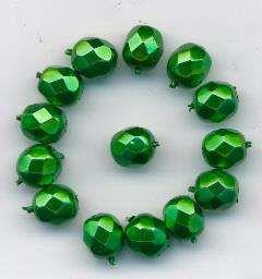 Korálky  broušené15119001 velikost  7mm povrch vosk tmavě zelený 14ks