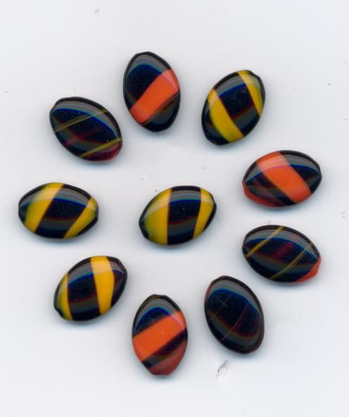 Korálky tvar šváb 14/10 černá/korál 10ks Firma Petr Machačka - výroba skleněné korálky