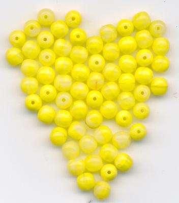 Skleněné korálky 6mm přetah žlutá+alabastr Firma Petr Machačka - výroba skleněné korálky