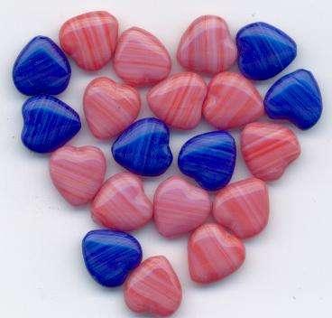Korálky mačkané 79001 srdce velikost 11x11mm mix modrá+růžová II.j. 100gr.- Prodej české skleněné mačkané korálky sklářská surovina firma Preciosa vhodné pro korálkování Firma Petr Machačka - výroba skleněné korálky