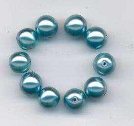 Korálky mix velikostí 8-8,5mm vosk modrý sytý a transp. 12ks Firma Petr Machačka - výroba skleněné korálky