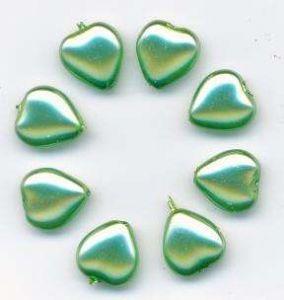 Korálky mačkané tvar 11179001 11x11mm srdce povrch vosk barva zelená 8ks
