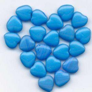 Korálky mačkané tvar srdce velikost 11x11mm žíhaná modrá II.jakost 100gr.