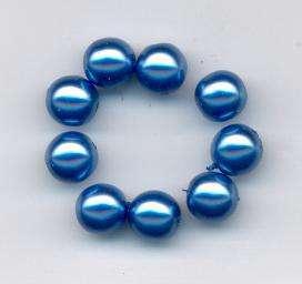 Korálky mačkané 8 mm vosk tmavá modrá 12ks Firma Petr Machačka - výroba skleněné korálky