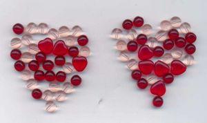 mix korálků rubín a rosa kulaté a srdce 100gr.