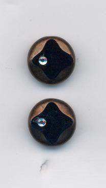 Korálky ploškované černá/listr 12/12mm 2ks Firma Petr Machačka - výroba skleněné korálky