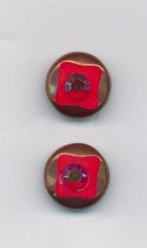 Korálky ploškované červená/listr 12/12mm 2ks Firma Petr Machačka - výroba skleněné korálky