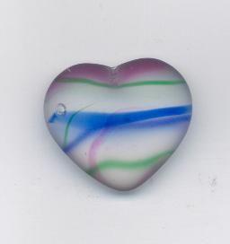 Korálky ploškované srdce krystal/barvy 29/24mm 1ks Firma Petr Machačka - výroba skleněné korálky