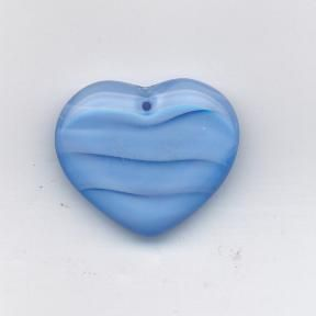 Korálky ploškované srdce modro/alabatr 29/24mm 1ks Firma Petr Machačka - výroba skleněné korálky