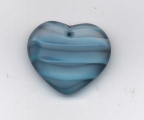 Korálky ploškované srdce modro/šedá 29/24mm 1ks Firma Petr Machačka - výroba skleněné korálky