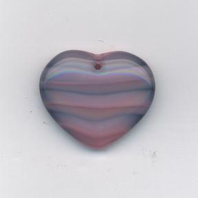 Korálky ploškované srdce růžovo/šedá 29/24mm 1ks Firma Petr Machačka - výroba skleněné korálky