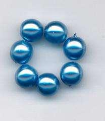 Korálky Skleněné perle 8mm vosk modrý 12ks - Prodej české skleněné mačkané korálky sklářská surovina firma Preciosa vhodné pro korálkování Firma Petr Machačka - výroba skleněné korálky