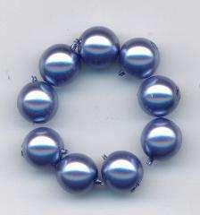 Korálky Skleněné perle 8mm vosk modrý - lila 12ks- Prodej české skleněné mačkané korálky sklářská surovina firma Preciosa vhodné pro korálkování Firma Petr Machačka - výroba skleněné korálky