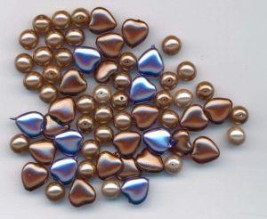 Korálky vosková sada kuličky+srdce bronz 100gr.