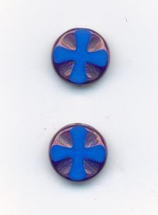Ploškované tmavě modrá/listr 13mm sada 2ks Firma Petr Machačka - výroba skleněné korálky