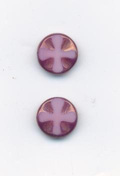 Ploškované růžová/listr 13mm sada 2ks Firma Petr Machačka - výroba skleněné korálky
