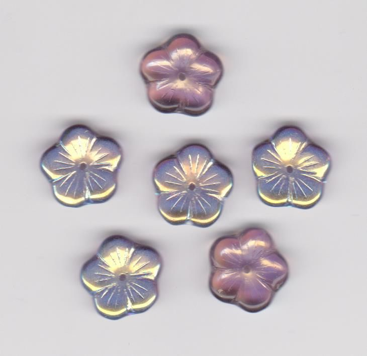 Korálky mačkané 1110086 velikost 14mm tvar květina barva ametyst pokov AB 18ks Firma Petr Machačka - výroba skleněné korálky