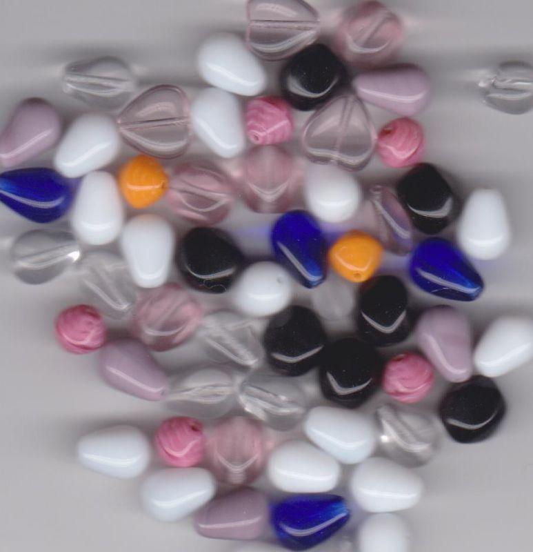 Korálky mačkané mix kulaté + tvary dle obrázku II.jakost 100gr.- Prodej české skleněné mačkané korálky základní sklářská surovina firma Preciosa - Ornela vhodné pro korálkování Firma Petr Machačka - výroba skleněné korálky