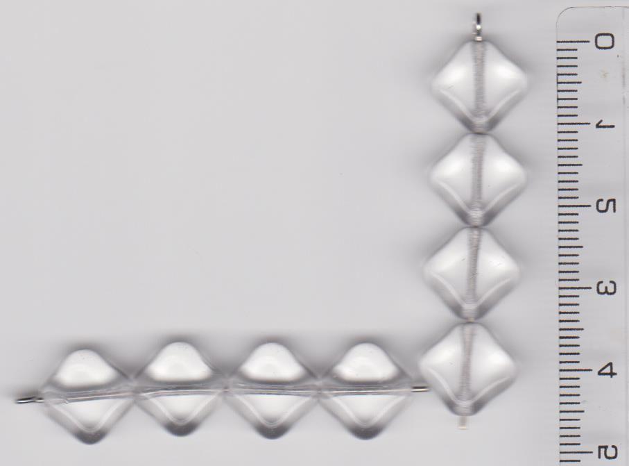 Korálky kostička 9x9 mm krystal, lesk II.j 20ks Firma Petr Machačka - výroba skleněné korálky