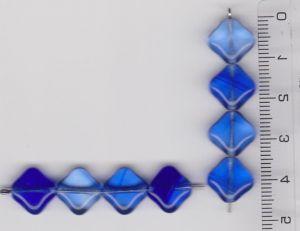 Korálky mačkané tvar kostička 9x9  povrch lesklý  safír mix odstínů I+ II.j 20ks