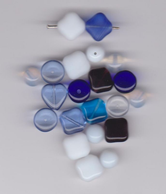 Korálky originální mix aqua + safír + alabastr I+II.jakost dle foto 1KG Firma Petr Machačka - výroba skleněné korálky