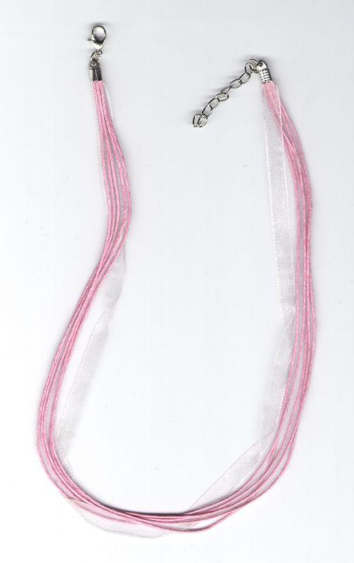 Barevná stužka růžová 43cm + 4,5cm adjusta platina Více výrobců - doplňkový sortiment