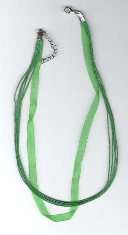 Barevná stužka zelená 43cm + 4,5cm adusta platina Více výrobců - doplňkový sortiment
