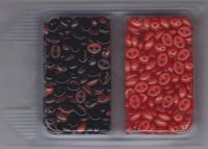 Korálky mugle dvoudírové 6x8mm sada červená/žíhaná černá + červená 60gr.