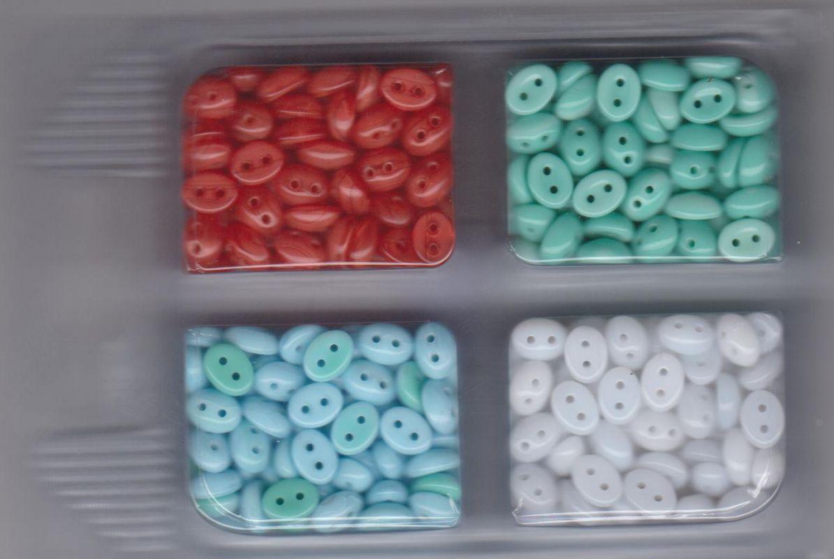 Korálky mugle dvoudírové 6x8mm bílá/červená/modrá/zelená 80gr. Firma Petr Machačka - výroba skleněné korálky