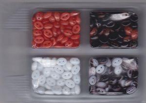 Korálky mugle dvoudírové 6x8mm červená/žíhané červená+černá/žíhané černá+bílá/bílé 80gr. Firma Petr Machačka - výroba skleněné korálky